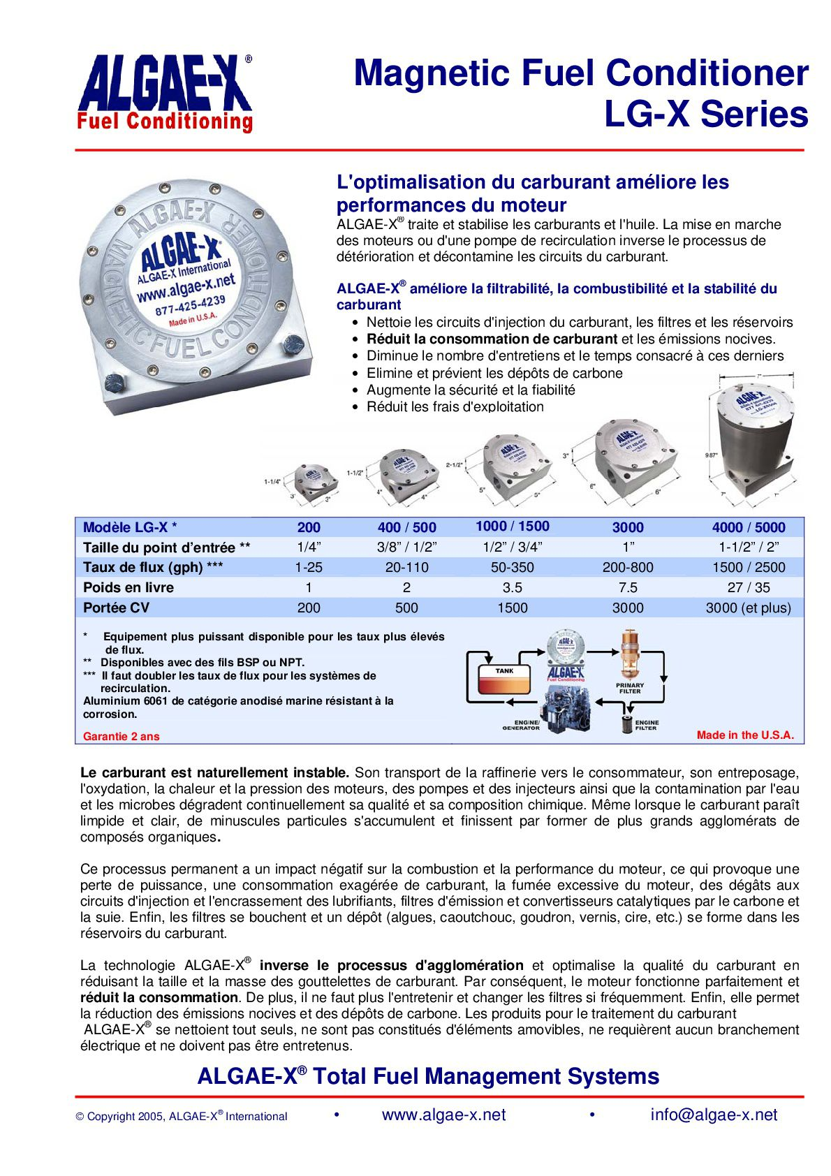 Info sur le conditionneur de gasoil Algae-X.