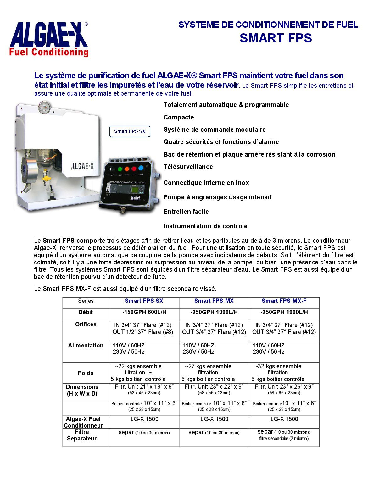 Documentation sur le conditionneur de carburant Algae-X.