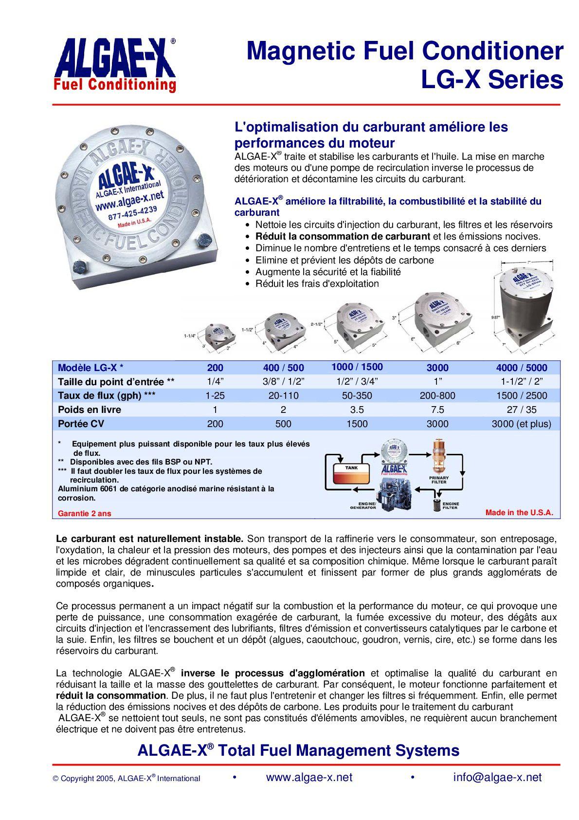 Info sur le conditionneur de gasoil Algae-X.