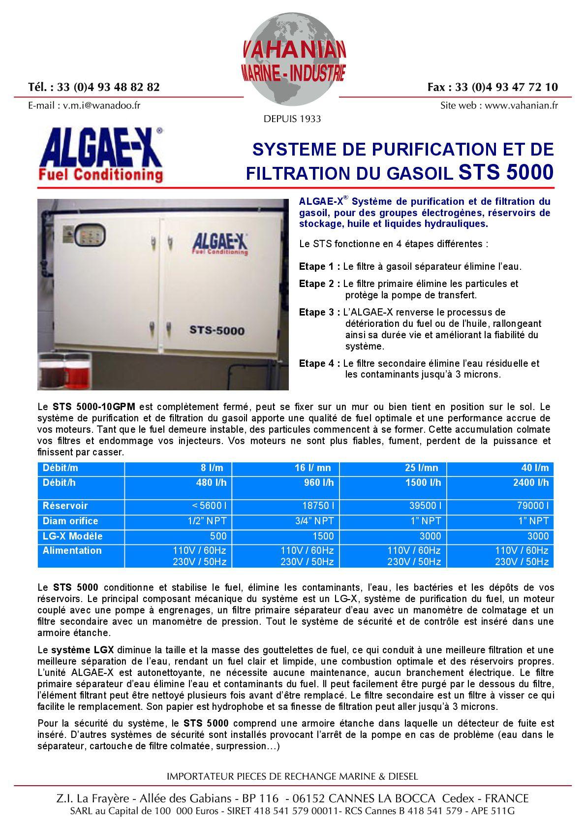 Document sur le système de purification de carburant Algae-x.