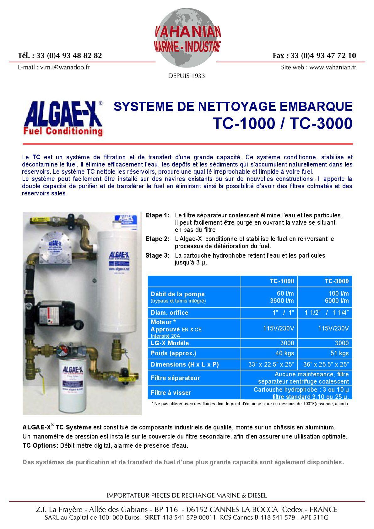 Document sur la purification de gasoil Algae-X.